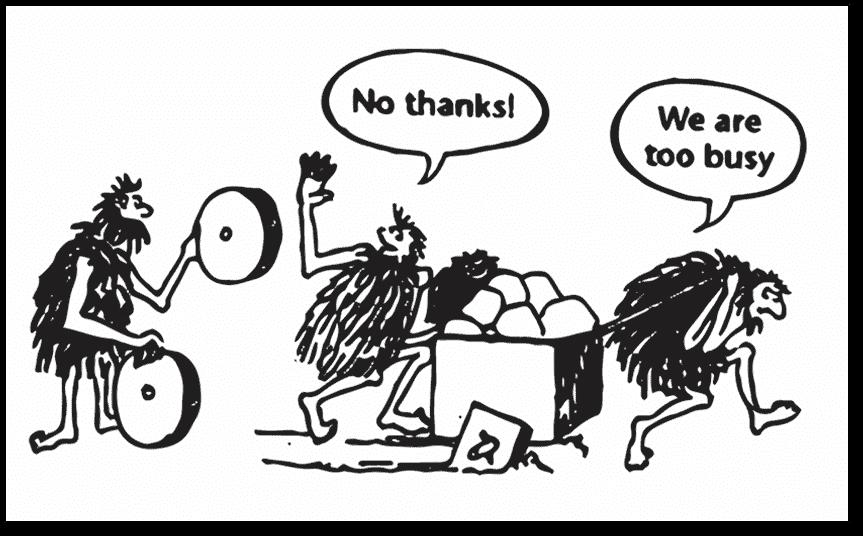 caveman wheel cartoon