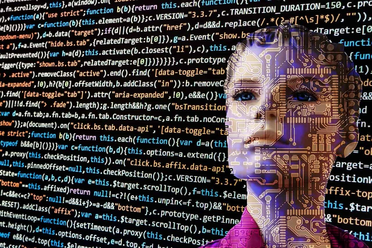 woman face within layers of code