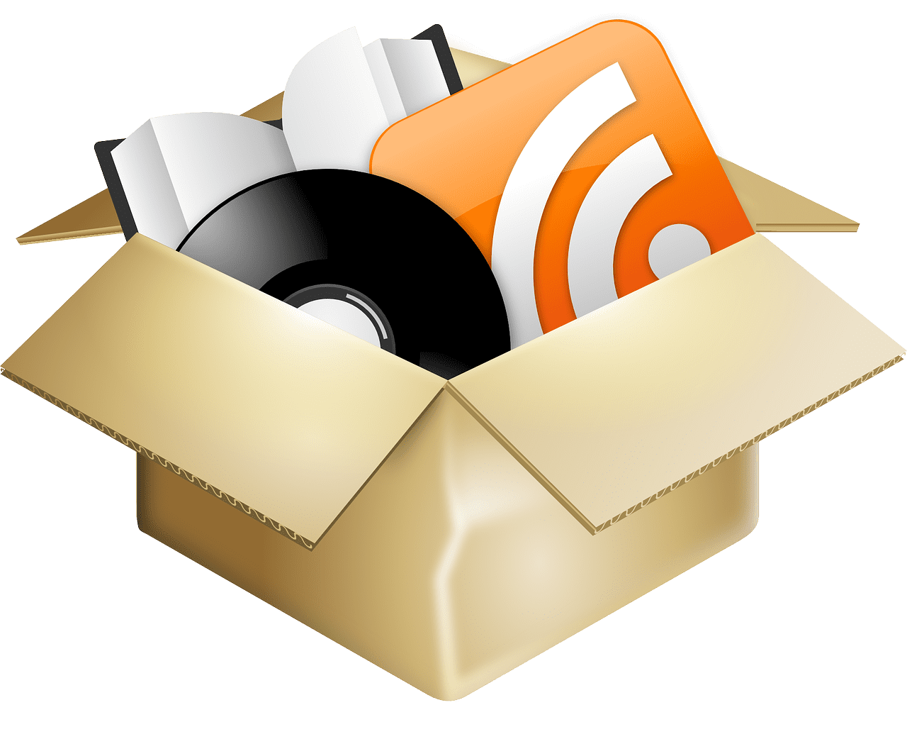 cardboard box with a book record and rss feed icon