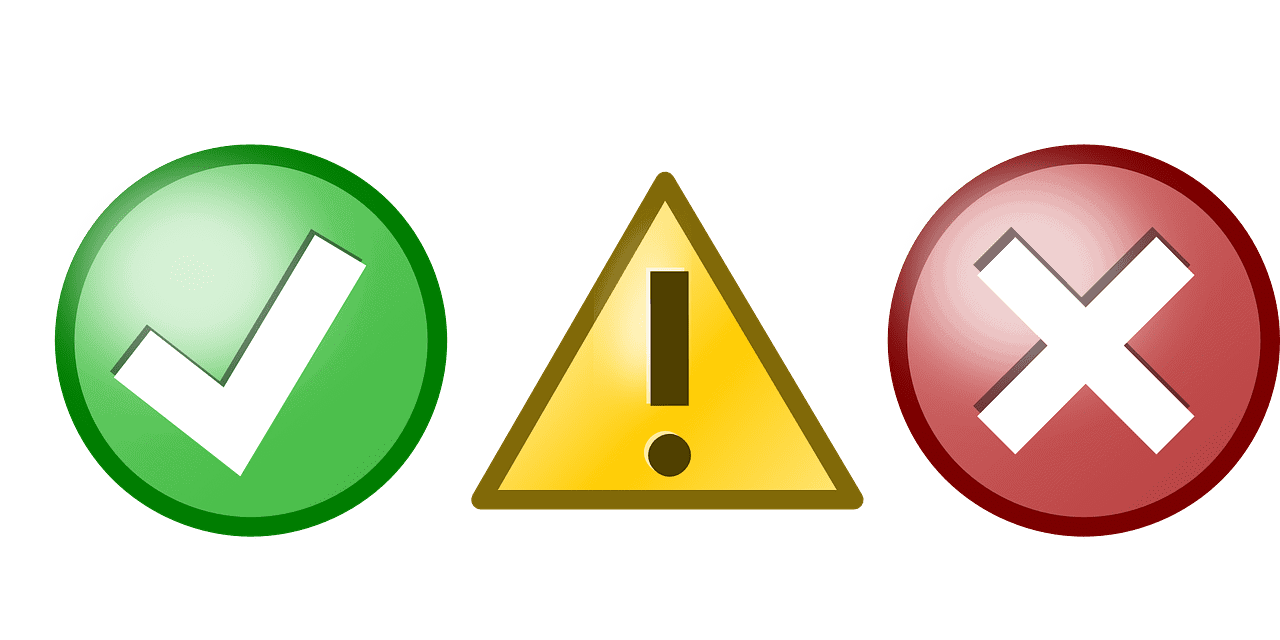 green circle chek yellow triangle exclamation and red circle x icons