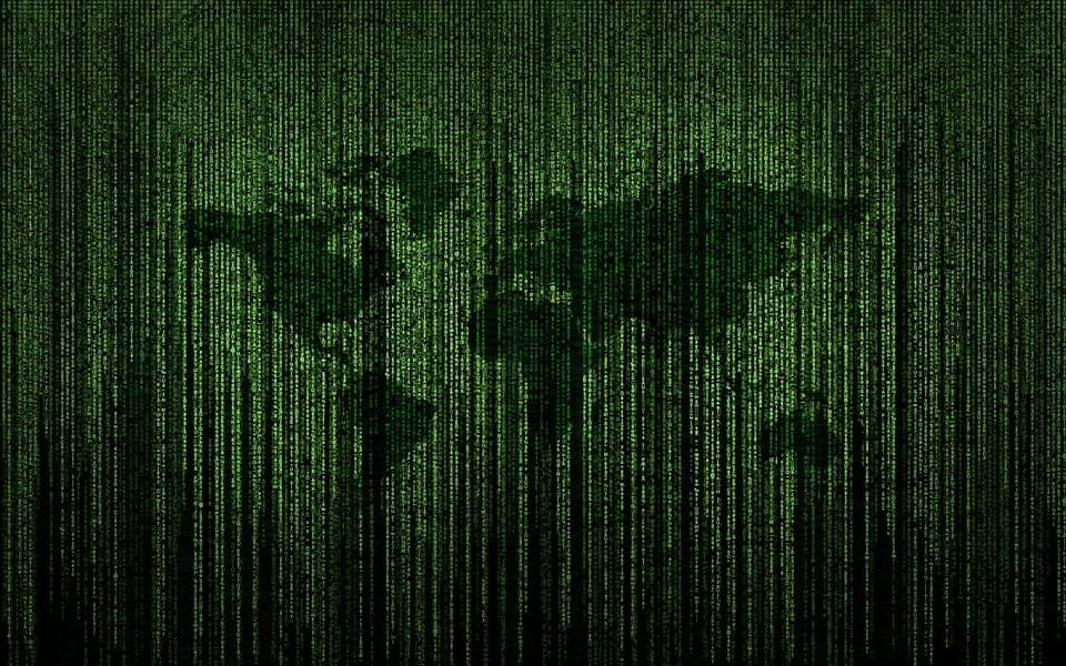 green digital map of the world in code