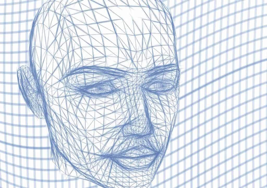 blue line face sketch