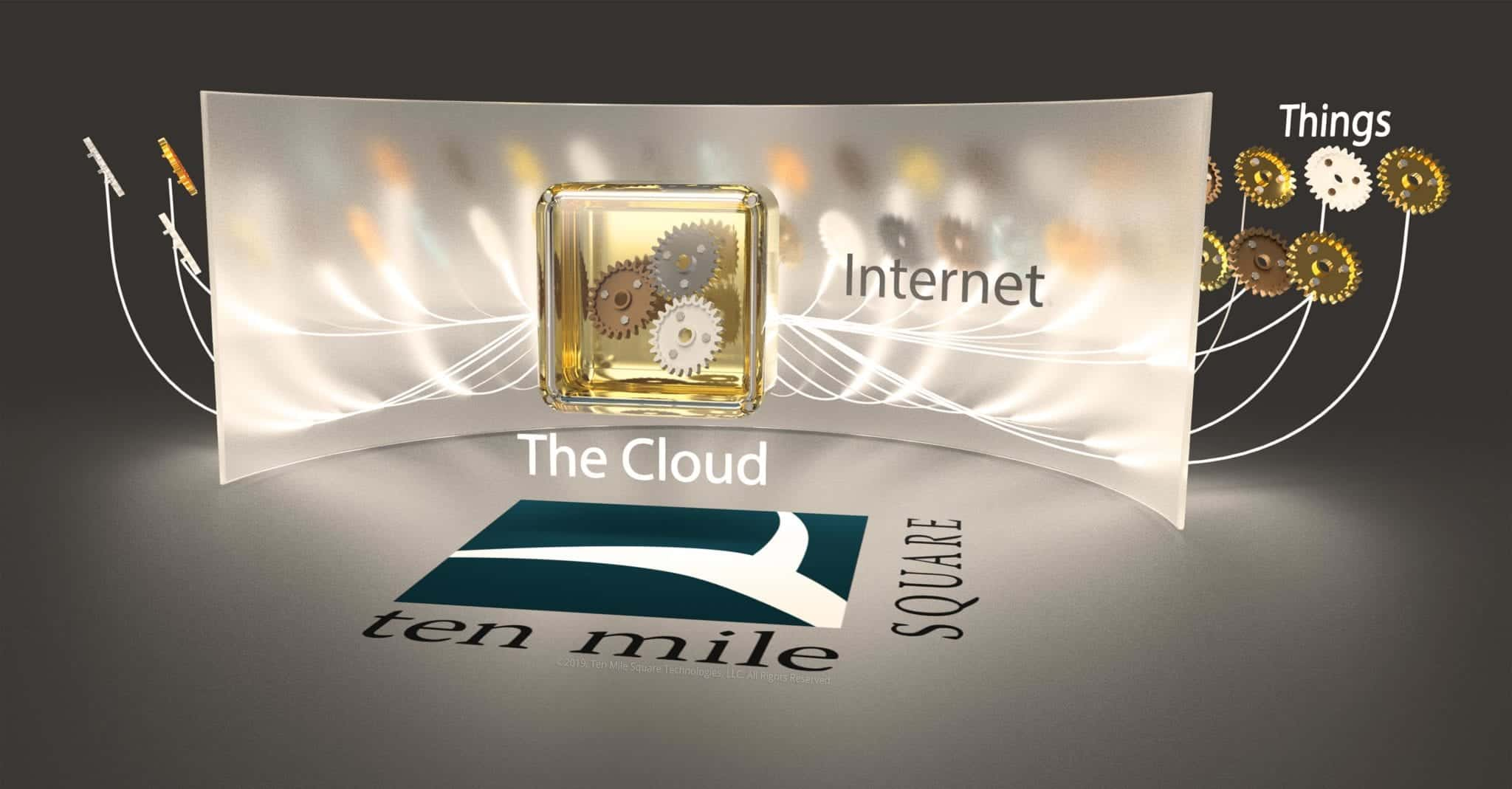 Stylized surrealist image depicting the cloud as a golden safe with gears floating in it, the internet as a frosted glass wall, and things as gears floating beyond the wall.