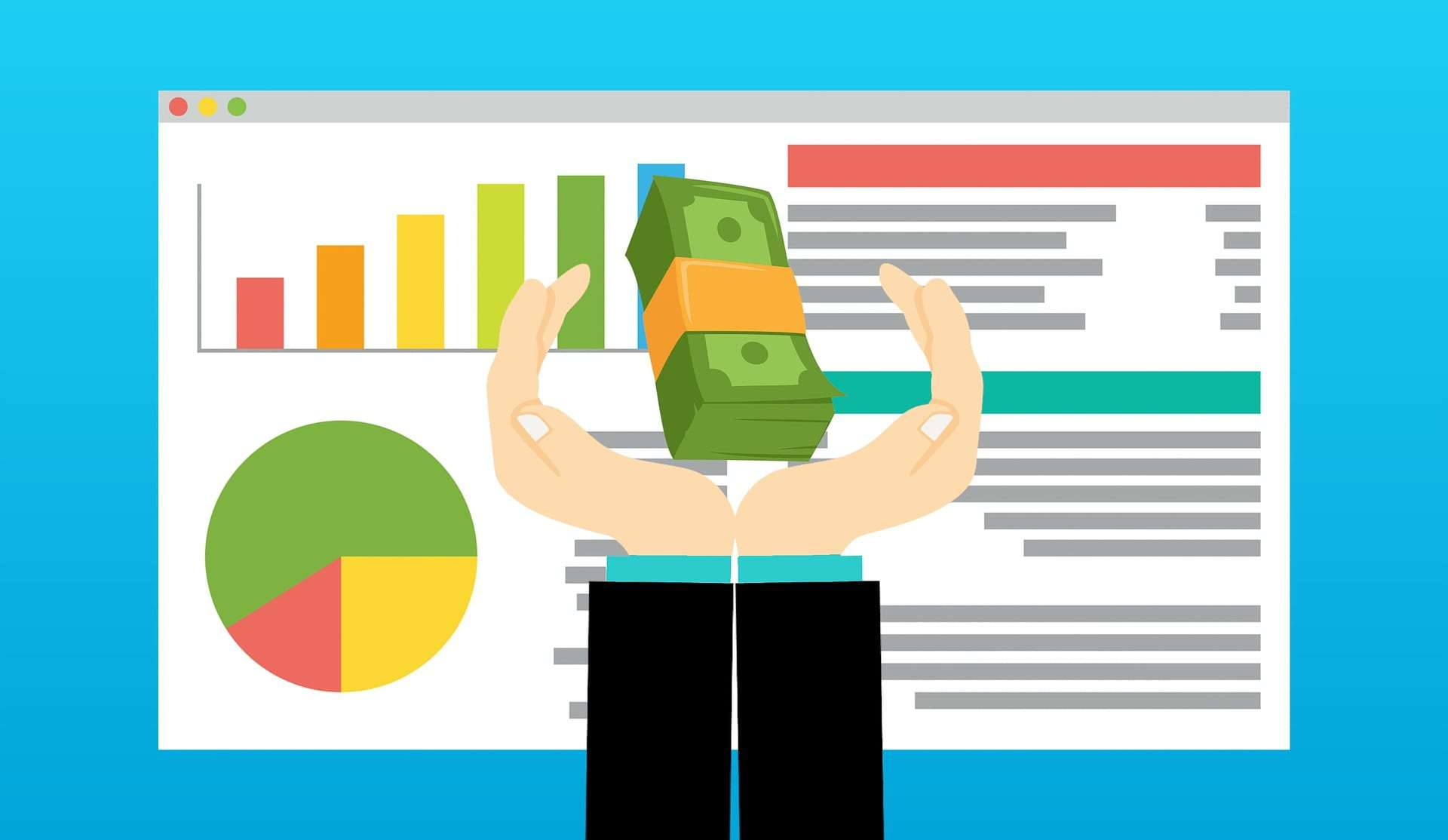 hands holding a bundle of dollar bills in front of graph report on a browser illustration