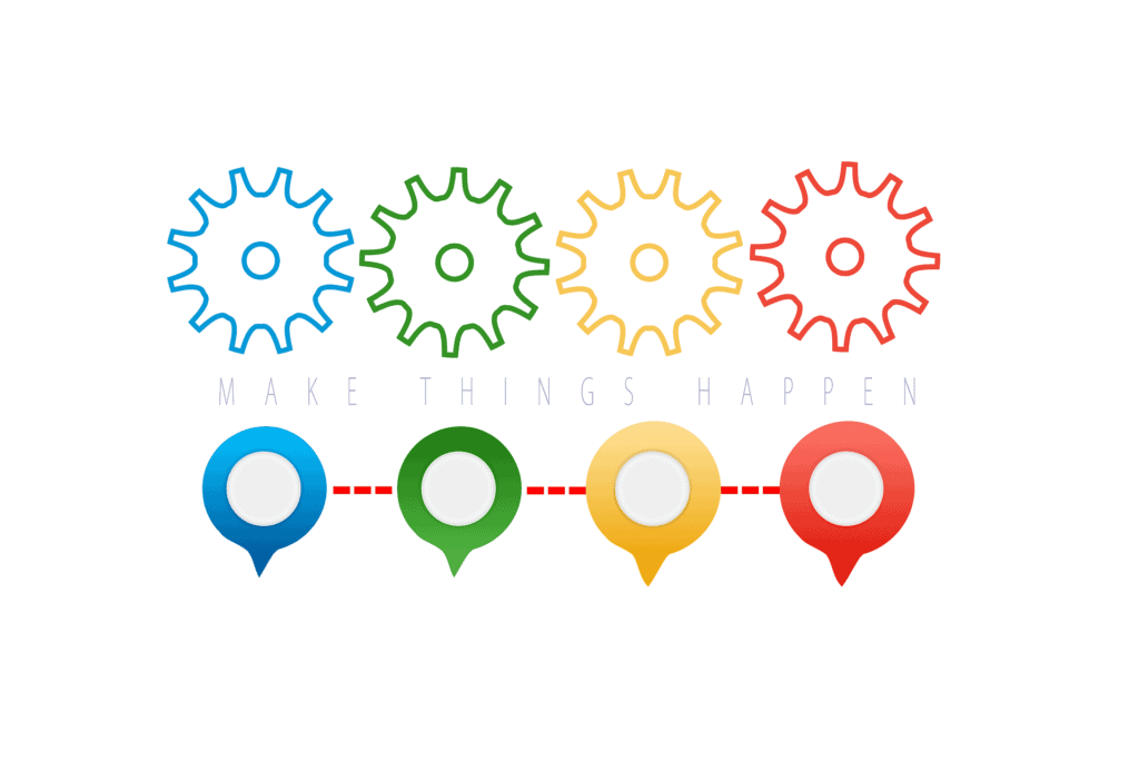 colorful gears and location icons with make things happen text
