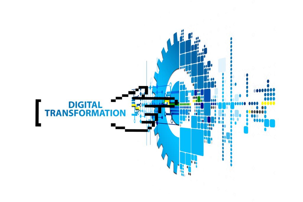 digital transformation text with digital hand point into a blue digital gear
