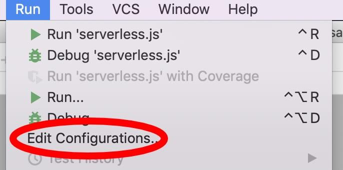 edit configurations location under run