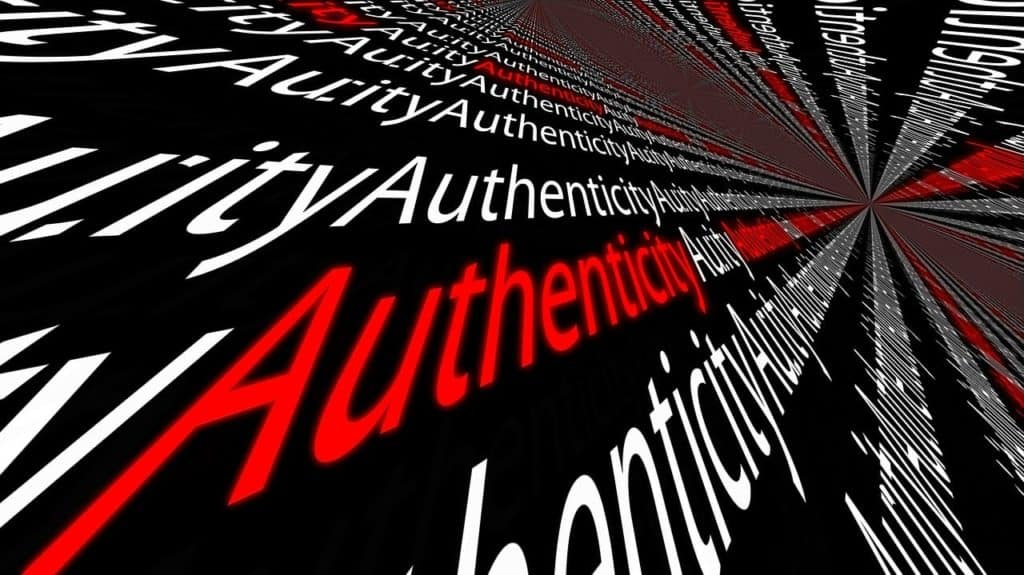 authenticity text collage in red and white text with black background