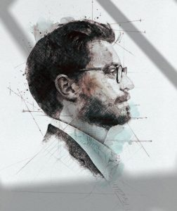 sketch of a man's profile wearing a collared shirt and glasses