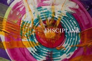 colorful circular art piece with discipline text