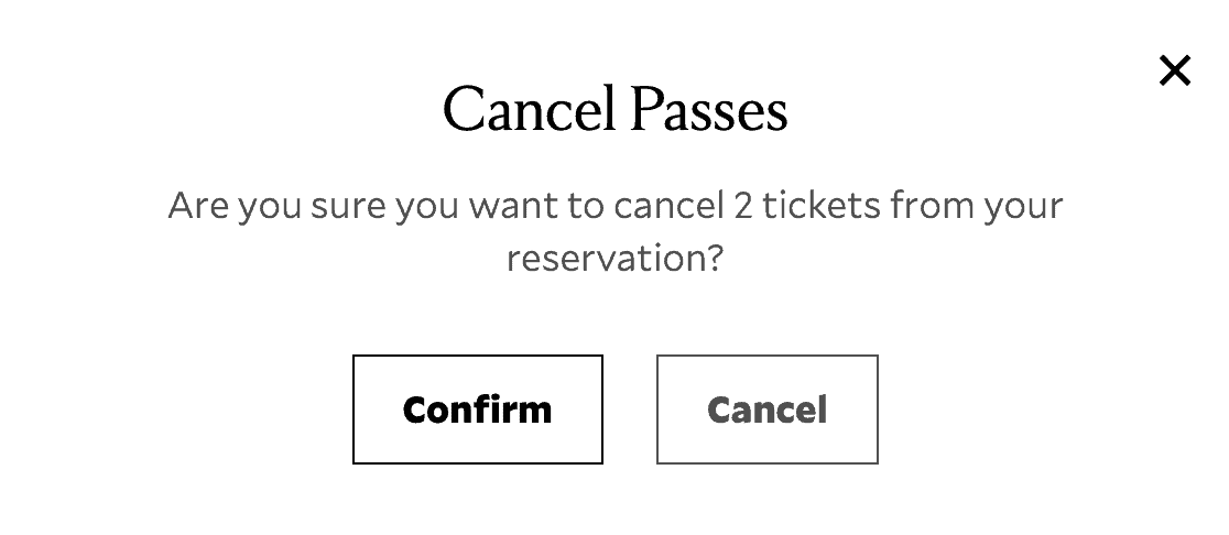 A Cancel Passes modal window with Confirm and Cancel options